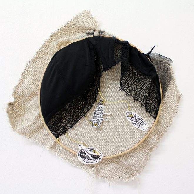 jojo_hynes_Currach_cíochbheart_2017_ink on paper_bra_golden_twine_on_fabric_over_embroidery_hoop_300