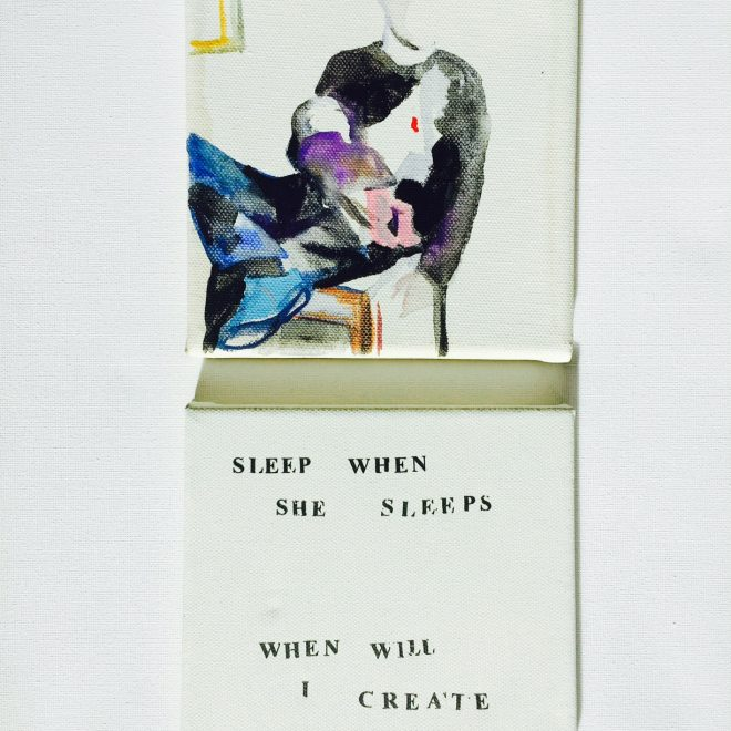 SleepWhenSheSleeps_JessicaTimmis_Painting and Text_30.4x40.6cm