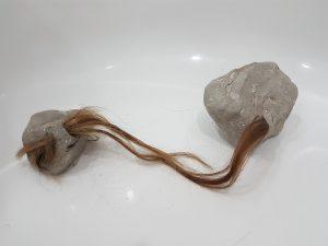 Stoned, 2018, Clay & Human hair 46cm x 34.50cm Alluminium mount print £460
